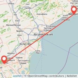 Mapa del viaje Orihuela Benidorm en bus