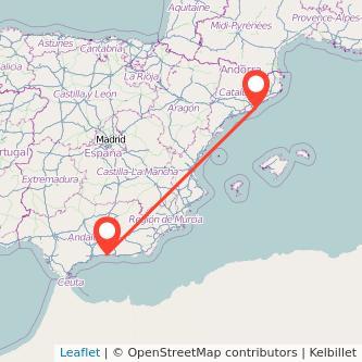 Mapa del viaje Nerja Barcelona en bus
