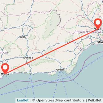 Mapa del viaje Murcia Málaga en bus