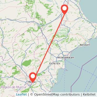 Mapa del viaje Murcia Xàtiva en tren