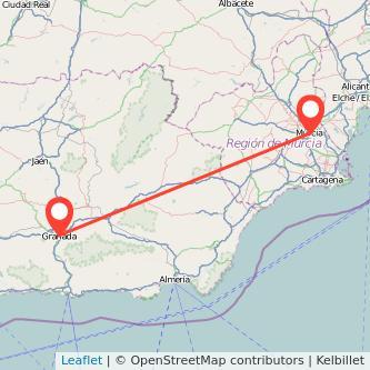 Mapa del viaje Murcia Granada en bus