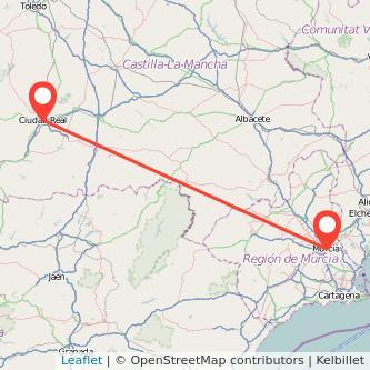 Mapa del viaje Murcia Ciudad Real en bus