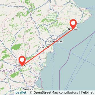 Mapa del viaje Murcia Benidorm en bus