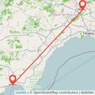 Mapa del viaje Murcia Almería en bus