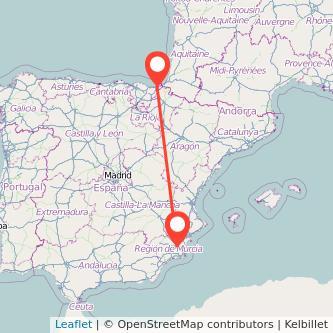 Mapa del viaje Murcia San Sebastián en bus