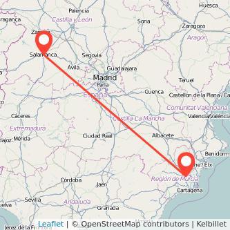 Mapa del viaje Murcia Salamanca en bus