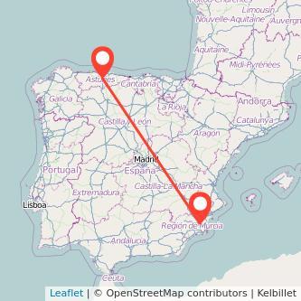 Mapa del viaje Murcia Oviedo en bus
