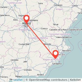 Mapa del viaje Murcia Madrid en bus