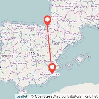Mapa del viaje Murcia Irún en bus