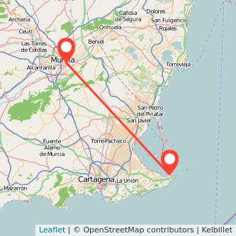 Mapa del viaje Murcia La Manga del Mar Menor en bus