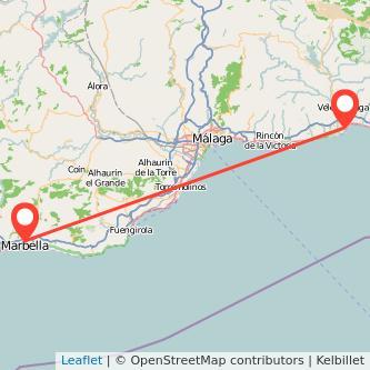 Mapa del viaje Marbella Torre del Mar en bus