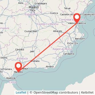 Mapa del viaje Marbella Valencia en bus
