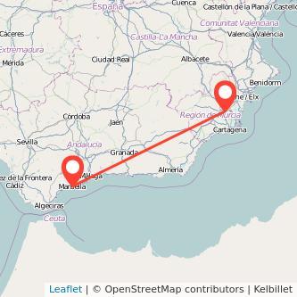 Mapa del viaje Marbella Murcia en bus