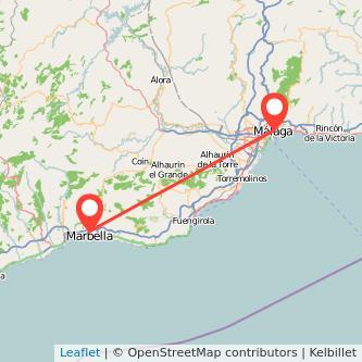 Mapa del viaje Marbella Málaga en bus