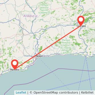 Mapa del viaje Marbella Granada en bus