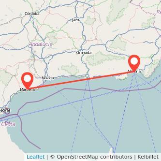 Mapa del viaje Marbella Almería en bus