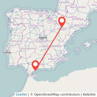 Mapa del viaje Marbella Zaragoza en bus