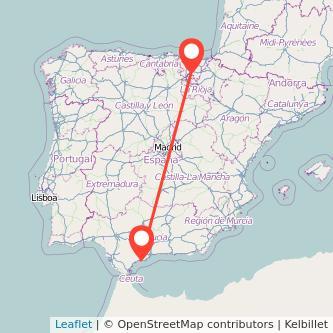 Mapa del viaje Marbella Vitoria-Gasteiz en bus