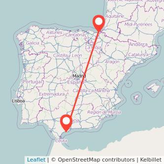 Mapa del viaje Marbella San Sebastián en bus