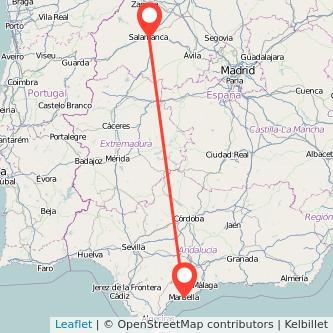 Mapa del viaje Marbella Salamanca en bus