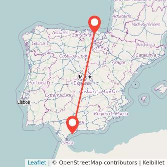 Mapa del viaje Marbella Bilbao en bus
