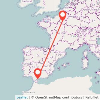 Mapa del viaje Marbella París en bus