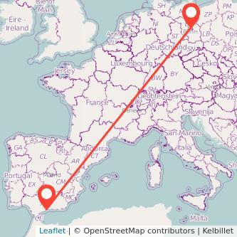 Mapa del viaje Málaga Berlín en bus