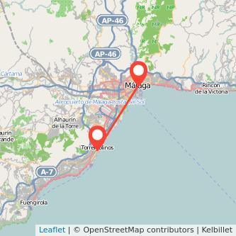 Mapa del viaje Málaga Torremolinos en bus
