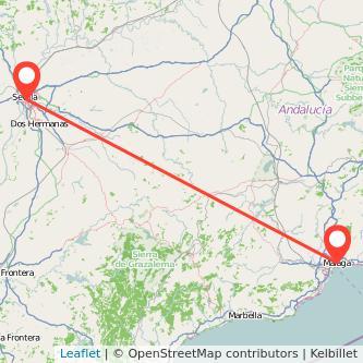 Mapa del viaje Málaga Sevilla en tren