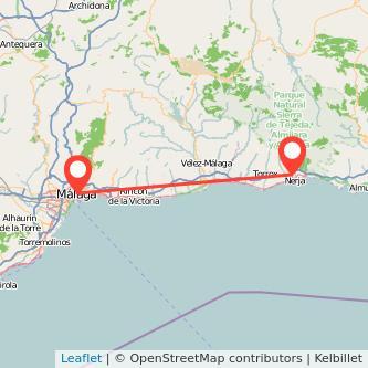Mapa del viaje Málaga Nerja en bus