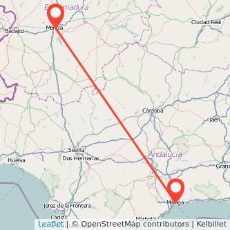Mapa del viaje Málaga Mérida en bus