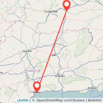 Mapa del viaje Málaga Manzanares en bus