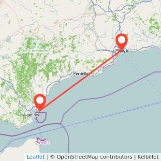 Mapa del viaje Málaga La Línea de la Concepción en bus
