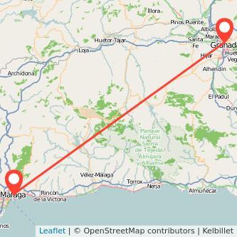 Mapa del viaje Málaga Granada en bus