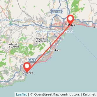 Mapa del viaje Málaga Fuengirola en bus