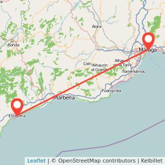 Mapa del viaje Málaga Estepona en bus
