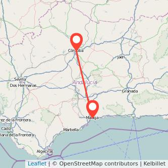 Mapa del viaje Málaga Córdoba en bus