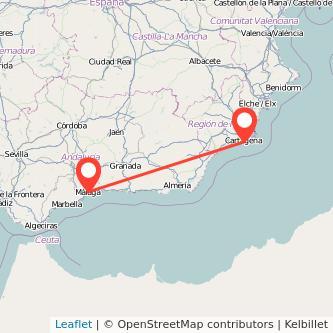 Mapa del viaje Málaga Cartagena en bus