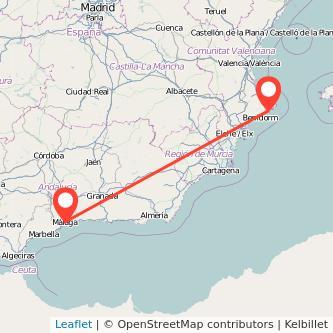 Mapa del viaje Málaga Calpe en bus