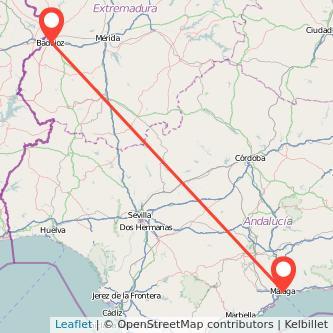 Mapa del viaje Málaga Badajoz en bus