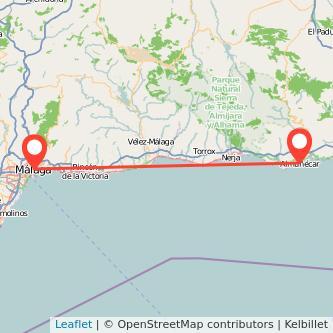 Mapa del viaje Málaga Almuñécar en bus