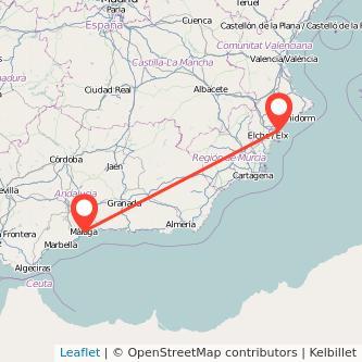 Mapa del viaje Málaga Alicante en bus