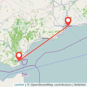 Mapa del viaje Málaga Algeciras en bus