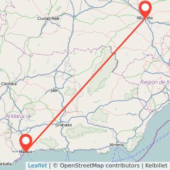 Mapa del viaje Málaga Albacete en bus
