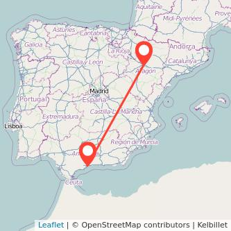 Mapa del viaje Málaga Zaragoza en bus