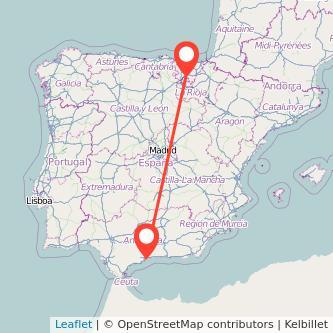 Mapa del viaje Málaga Vitoria-Gasteiz en bus