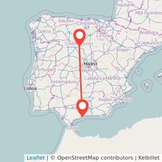 Mapa del viaje Málaga Valladolid en bus