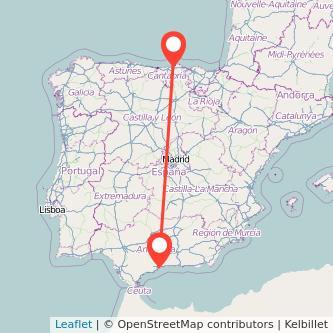 Mapa del viaje Málaga Santander en bus