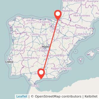 Mapa del viaje Málaga San Sebastián en bus