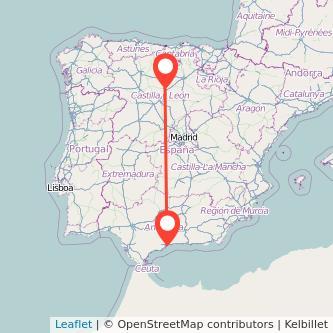 Mapa del viaje Málaga Palencia en bus